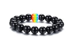 Perles d'agate arc-en-ciel en Ligne-Livraison Gratuite 11MM Agate Nuture Stone Fierté Arc-En-Ciel LGBT Sensibilisation Perle Bracelet Extensible pour Gay Lesbiennes Vente Chaude!
