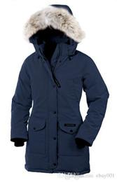 Wholesale doudoune femme - Women Trillium Femme Outdoors Fur Down Jacket Hiver Thick Warm Windproof Goose Down Coat Thicken Fourrure Hooded Jacket Manteaus Doudoune