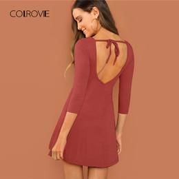 0650bd08382f rust dresses Sconti COLROVIE Ruggine Solid Backless Office Elegante Party  Dress Donna 2018 Autunno Moda Sexy