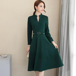 60bf6d4db999 Clobee Women Dress 2018 Elegant Women Wear Plus Size Spring Dress Sexy Office  Ladies Wear V-neck Long Sleeve Slim Dresses J349