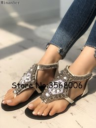 Ankle Wrap Ring Toe T strap Studs Sequins Lady Buckle Strap Sandals Suede Embellished Rome Style Woman Flats Sandals Shoes