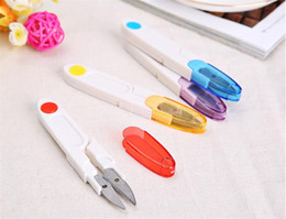 Wholesale Tailor Scissors Wholesale - Cutter Scissor Cross-stitch Sewing Mini Tool Embroidery Home Clipper Snip Tailor Thread Household Transparent Cover