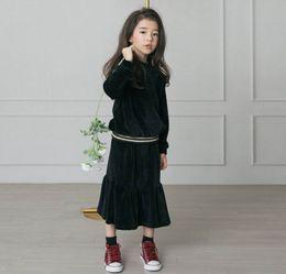 Wholesale Princess Sweatshirts - Retail Teenage Girls Clothing Sets Velvet Long Sleeve Sweatshirt+Skirt 2pcs Princess Sets D920