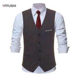 Wholesale Chaleco Slim Fit - 2018 New Men Vest Dark Brown Plaid Chaleco Hombre Men Vest Wedding England Style Slim Fit Gentlemen Retro Fashion S-3XL