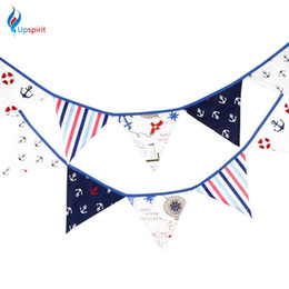 Wholesale Children Birthday Party Themes - Wholesale- New Coming Pirate Theme Cotton Fabric Bunting Pennant Flag Birthday Party Decoration For Children Kids Home Decorating Supplies