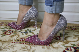 style wedding glitter Promo Codes - 2018 new style Color glitter gradient pumps Women pointed toe high heel shoes lady wedding footwear