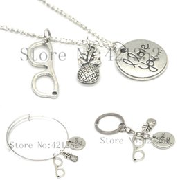 Wholesale pineapple love - 12pcs Pineapple necklace keyring bracelet Love Bracelet Glasses Charm necklace keyring Bangle adjustable bracelet silver tone