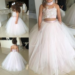 Wholesale Toddlers Christmas Pageant Dresses - Lovely Kids Two Pieces Flower Girl Dresses 2018 Princess A Line Halter Neck Backless Girls Toddler Formal Party Wear Gowns Birthday Pageant