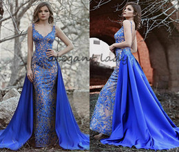tulle detachable jacket Promo Codes - Evening Dresses With Detachable Overskirt Lace Tulle Applique Beaded V Neck Sweep Train royal blue Formal Party Plus Size prom Gown