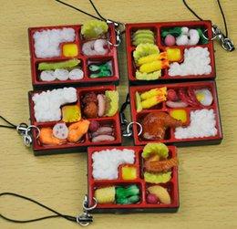 Wholesale Sushi Boxes Wholesale - Simulation Sushi Box Key Chain Phone Charms Keyring Lifelike Food Handbag Pendant Lanyard Key Ring Funny Toys