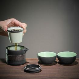Черный керамический чайник онлайн-Портативный Черный Керамический Чайный Набор Gongfu Teaset Чайник Gaiwan с Фильтром Inufser Чайная Чашка 3 Шт. В Дорожной сумке