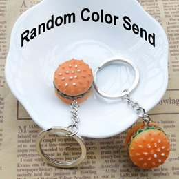 Wholesale Car Color Personality - 2018 Novelty Personality Simulation Food Burger keychains Key Rings Fresh Style Key Holder (Random Color Send) Free DHL G736Q