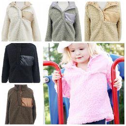 Wholesale 4t Girls Jackets - Autumn Winter Girls Jacket Coat Sherpa Girls Hoodies Sweatshirt Baby Girl Clothes kids winter sweater 6 color LJJK874