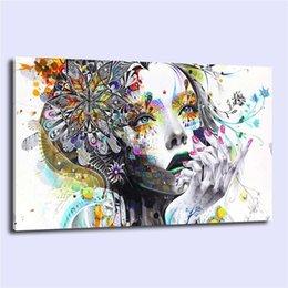 Ragazza di fiore della pittura a olio online-Flower Girl Abstract -1,1 pezzi Stampe su tela Wall Art Oil Painting Home Decor (senza cornice / con cornice)