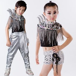 e3013e5a2fa2 Children Sequin Modern Jazz Dance Costumes Hip Hop Stage Mounts Drums Group  Clothes Catwalk Horns Kids Ballroom Performace Dress affordable dance group  ...