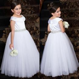 Wholesale Pure White Flower Girl Dresses - Pure white communion dresses scoop neck beaded sash zipper back princess party gowns long floor tulle flower girls dresses for weddings