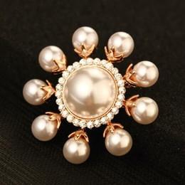 Bufandas de las mujeres indias online-Perla de lujo Broches de girasol para las mujeres de moda chapado en oro Vintage Broche Pins Cristal bufanda hebilla de joyería india 2016 ahora