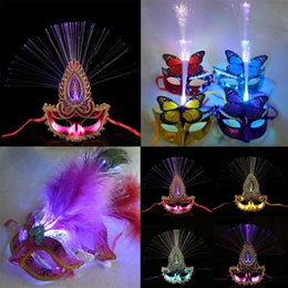 Wholesale optical stages - New Flashing Optical Fiber Mask LED Light Feather Masks Adult Kids Gift Stage Performance Props Wedding Party Supplies