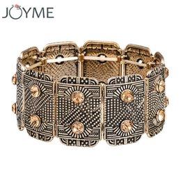 Wholesale rhinstone bracelet - New Fahion Vintage Wide Boho Bracelets Bangles For Women Ethnic Rhinstone Adjustable Women Cuff Bracelets & Bangle