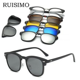 Wholesale magnets custom - RUISI5 lenes Magnet Sunglasses Clip Mirrored Clip on Sunglasses on glasses Men Polarized Custom Prescription Myopia