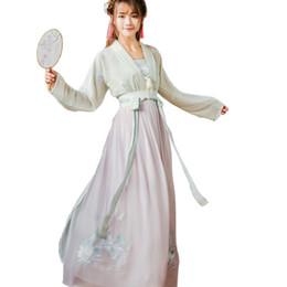 2018 disfraces de verano hanfu mujeres étnico de manga larga v cuello rosa blanco hanfu conjunto de ropa tradicional china desde fabricantes