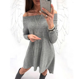 Wholesale plus size dresses knitted - Women Winter Knitted Sexy Off Shoulder Dress Long Sleeve Ruffle Dress 2018 Fashion Autumn Female Elegant Party Dress Plus Size
