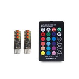 Controlador de domo online-T10 W5W Luz de lectura de la cúpula del coche 194 168 Automóviles Lámpara de separación de la cumbrera RGB Bombilla LED estroboscópica con control remoto