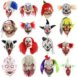fantasia de vampiro adulto de halloween Desconto Máscara de Palhaço de Halloween Máscara de Horror Assustador Sangrento Adulto Zombie Monster Vampiro Latex Costume Party Cabeça Completa Adereços
