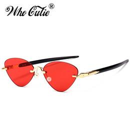 Wholesale Pent Men - WHO CUTIE 2018 Rimless Cat Eye Sunglasses Women Pen Legs Brand Designer Vintage Retro Female Sun Glasses Clear Lens Shades OM516