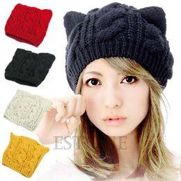 Wholesale Crochet Cat Ears - 1 PC Women Devil Horns Cat Ear Winter Beanie Crochet Braided Knitc Ski Wool Cap Hat