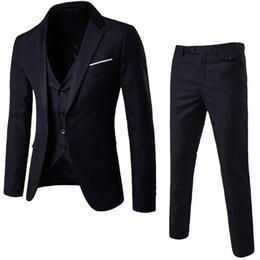 vestido de colete de escritório Desconto Laamei mens 3 peças (jaqueta + colete + calça) masculino busines dress slim fit ternos sólidos escritório casual ternos outwear asiático l = eua xs