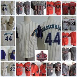 Wholesale black paul goldschmidt jersey - Mens 44 Paul Goldschmidt Cool Base Jersey Stitched Gray red 22 Jake Lamb 21 Zack Greinke Flex base baseball Jerseys S-3XL