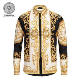 2018 seide bedruckte hemden 2018 Luxus Herrenhemden Herbst Winter Langarm  Casual Shirts Männer bedrucktes Hemd Farbe d5933a1ab4