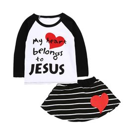 Wholesale baby jesus - Baby Girl Clothing Set Winter Fashion Heart Shape T Shirts+Striped Skirts Girls Clothes My Heart Belongs To Jesus Infant Clothing Sets