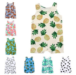Wholesale Red Bananas - 13 Style INS New hot selling baby kids clothing Stars tiger banana print climbing romper sleeveless o-neck 100% cotton baby girl boy romper