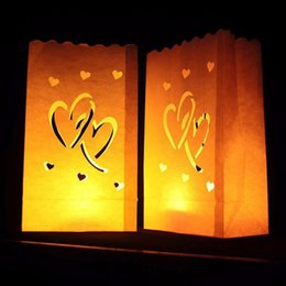 Lanterne a cuore guidate online-10pcs Heart Tea Light Paper Lantern Candle Bag Home Outdoor LED Lighting Candles Bag Christmas Party Wedding Decoration Supplies
