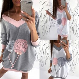 2019 женские толстовки с капюшоном Newest Loose Long Hoodies Womens V-Neck Long Sleeve Pullover Hoodie Sweatshirts Hooded Ladies Girls Spring Autumn Style Clothes дешево женские толстовки с капюшоном
