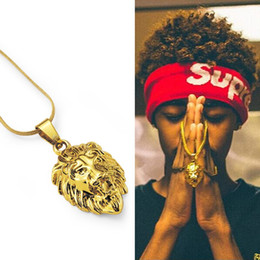 pendant design gold small Promo Codes - Men Charm Small Lion Head Pendant Hip Hop Necklaces for 18k Gold Plated 60cm Long Chain Fashion Jewelry Design
