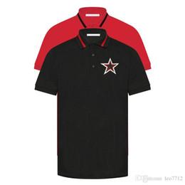 patchs étoiles blanches Promotion 19ss Polo de créateur en coton perle noire de créateur, col en dentelle rouge, décoration de poitrine, col rouge, chemise en polo, étoile noire et blanche, POLO