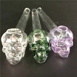 """Wholesale Black Skull Glasses - 5.5""""inch Lenght Skull Glass Bowl Oil Burners Thick colorful Glass Pipe for Smoking"""
