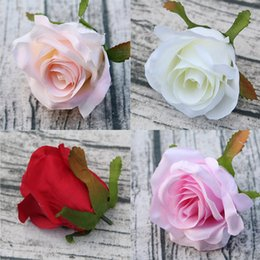 velas flutuantes frete grátis Desconto Rose cabeças de flores artificiais Dia 9 cm rosas de seda do falso cabeças de casamento casa decorações da festa de casamento guirlanda de casamento DIY