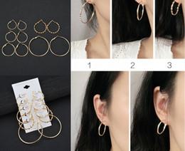 boucles d'oreilles ados Promotion Boucles d'oreilles créoles en or plaqué ensemble pour les femmes Bijoux ado diamant coupés 5 paires d'or et de lustre femmes corde corde créoles boucles d'oreille gratuit DHL H308R