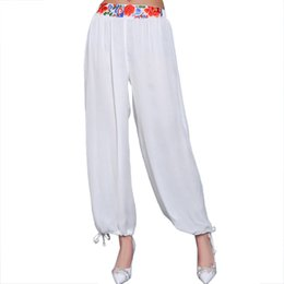 Wholesale Ethnic Pants - White Wide Leg Women Chiffon Pants Chinese Ethnic Style Embroidery Floral Trousers Casual Elastic Waist Pant Size L-XL