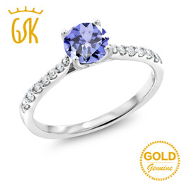 Diamanti di tanzanite online-GemStoneKing 0.72 Ct Rotondo Blu Naturale Tanzanite G / H Lab Grown Diamante 10 K White Gold Anello Di Fidanzamento Per Le Donne Gioielli raffinati