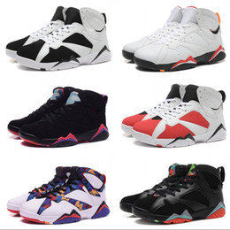 Wholesale Mens Winter Boots Size 12 - New Hot Retro 7 Basketball Shoes Mens Retro 7 Sneakers Classic Boots Authentic Discount Outdoor Black Red Sports Shoes Size 8-12