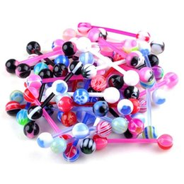 resin body bars Promo Codes - 50 Pcs Mixed Steel Ball Tongue Nipple Bar Ring Barbell Body Piercing Jewelry