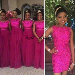 Wholesale Wedding Dresses Convertible Skirt - Rose Red Sequin Formal Bridesmaid Dresses 2018 With Removable Skirt Long Tulle Wedding Party Guest Dresses Nigerian African Style Plus