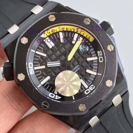 Wholesale Carbon Auto - Super JF Factory Mens Automatic Cal.3120 Watch Men Black Ceramic Bezel Carbon Case Fiber Rubber 15706 Date Diver 42mm Miyota 9015 Watches