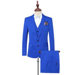Tuxedo blue color for mens on-line-Smoking Para Homens Prom Ternos Casuais Slim Fit Ternos Dos Homens Com Calças Terno Do Casamento Cor Sólida Azul Royal Preto Plus Size 6XL 2018