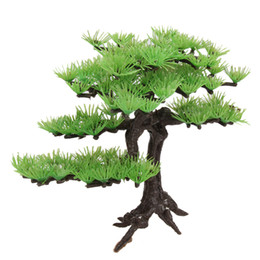 Accesorios para acuarios online-Planta Artificial Plstic Pine Tree Acuario Pecera Rockery Bonsai Accesorios Hotel Ornamento Decoración